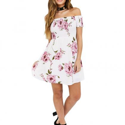 Women Off Shoulder Floral Print Sum..