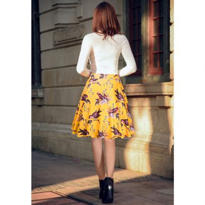 Yellow Bird and Floral Print High R..