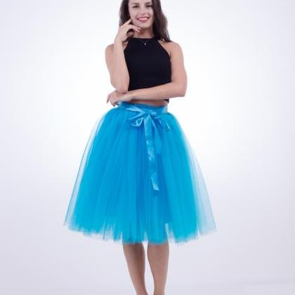 6 Layers Midi Tulle Skirts Womens T..
