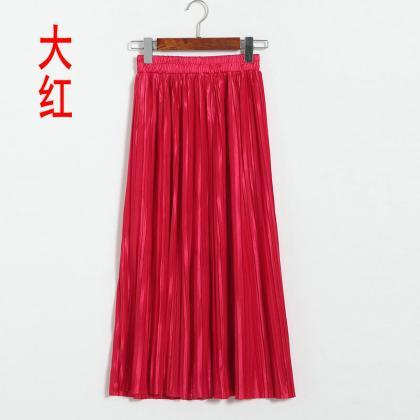 Red High Rise Pleated Midi A-Line S..