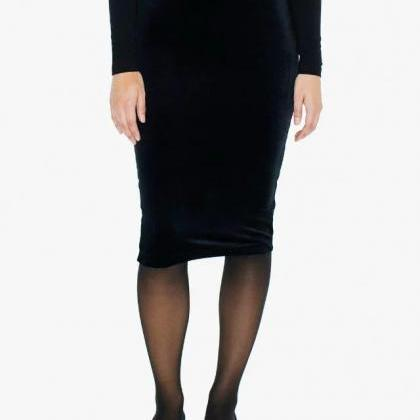 Black High Rise Midi Pencil Skirt