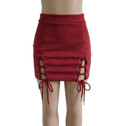 Women Faux Suede Mini Skirt Classic..