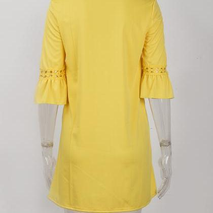 Yellow O-Neck Casual Short Shift Dr..