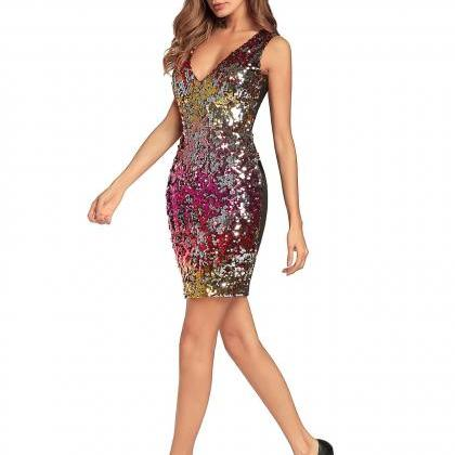 Colorful Sequin Mini Dress Sexy V N..
