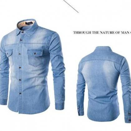 Mens Denim Shirt Cotton Two Pockets..