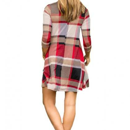 Women Plaid Casual Dress Spring Aut..
