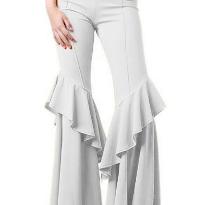 Fashion Women Flare Pants Stretch H..