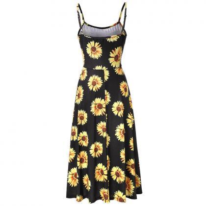 Boho Floral Printed Casual Dress S..