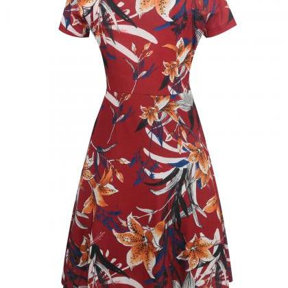 Women Floral Printed Slim Dress Vin..