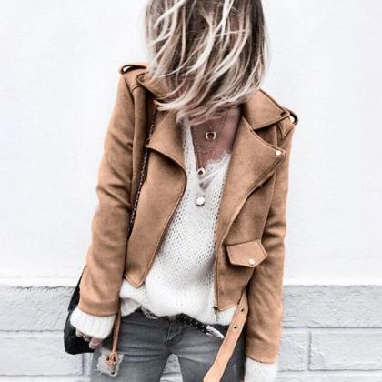 Women Faux Suede Jacket Autumn Long..
