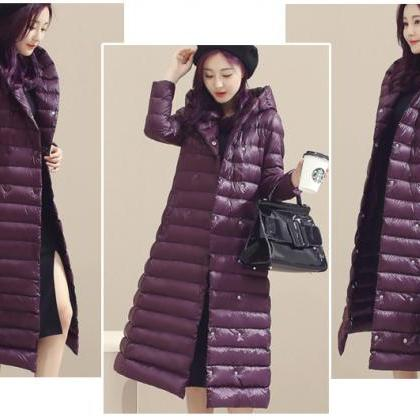 Women Long Duck Down Coat Hooded Lo..