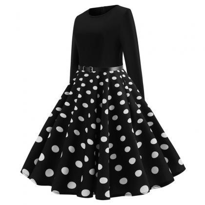 Women Polka Dot Printed Dress Long ..