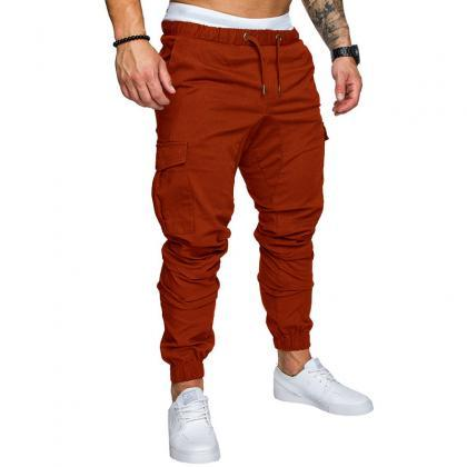 Men Pants Drawstring Waist Multi-Po..