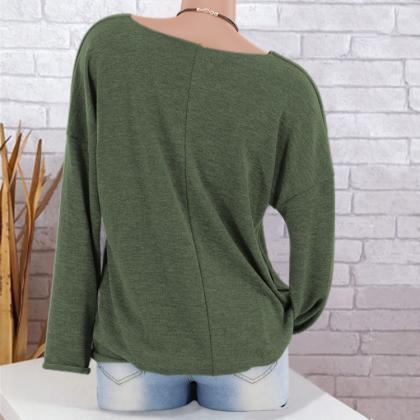 Women Knitted Sweater Autumn V Neck..