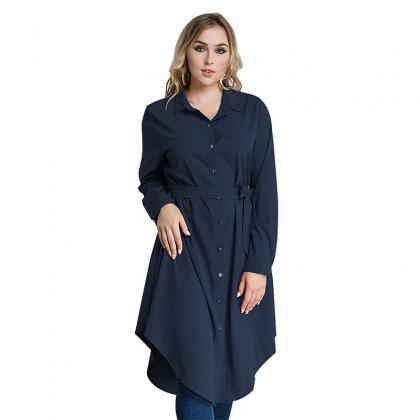 Plus Size Women Shirt Dress Long Sl..