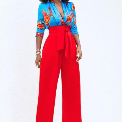 Women Wide Leg Pants High Waist Bel..