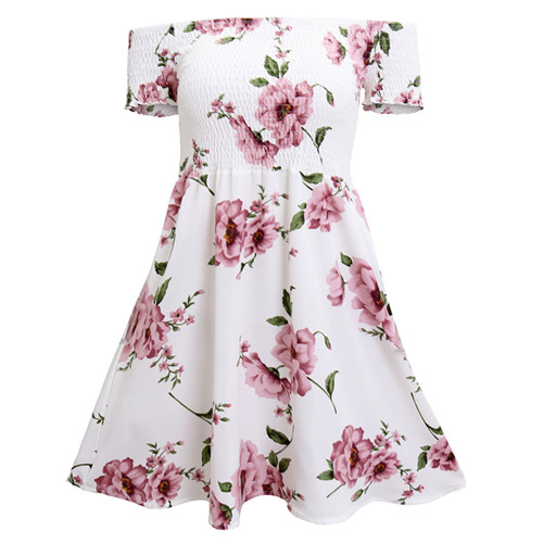 Women Off Shoulder Floral Print Summer Dress Sexy Short Sleeve Beach A Line Short Mini Casual Dress as pic