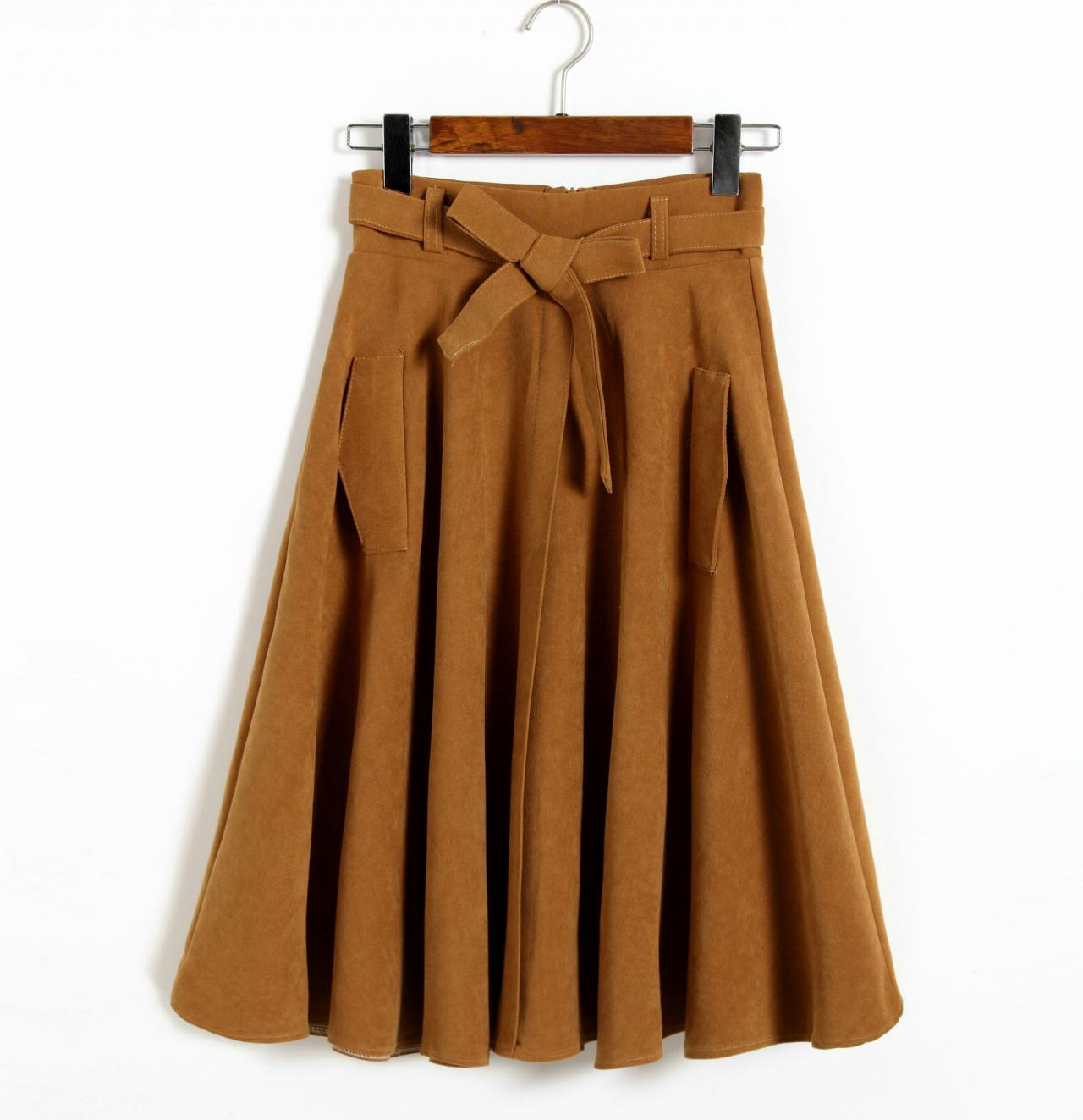 Khaki Faux Suede Bow Accent High Rise Knee Length Midi Skirt Featuring Pockets