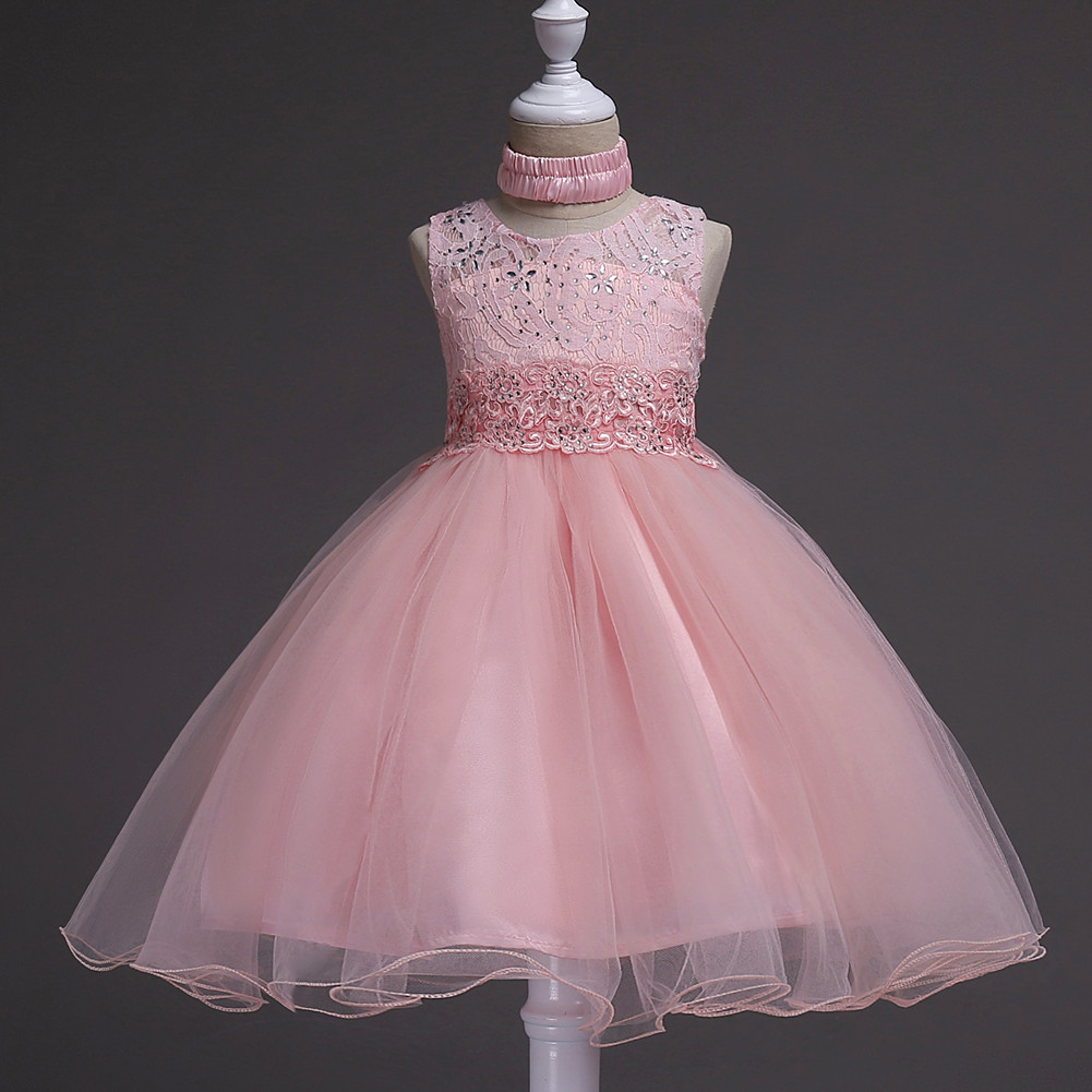 Fashion New Kids Wedding Flower Girl Dress Floral Lace Sleeveless Baby Clothes Princess Teens Daily Dress pink