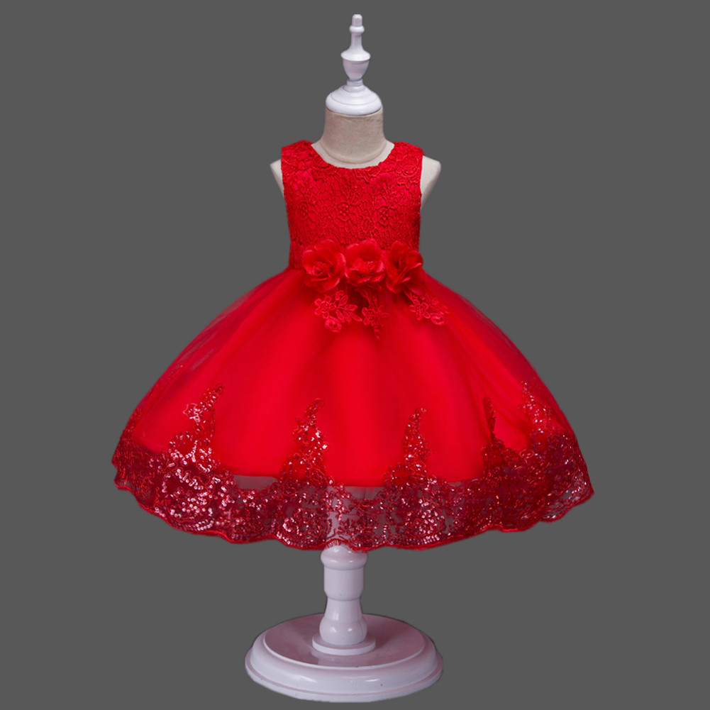 Princess Flower Girl Dress Wedding Party Prom Teens Bridesmaid Kids Clothes Sleeveless Lace Tutu Dress red