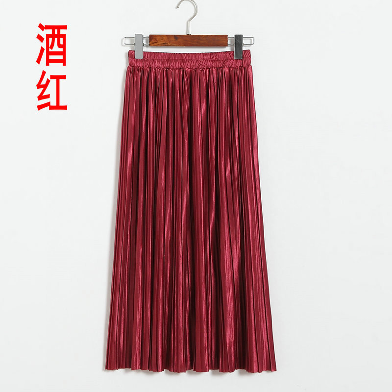 Dark Red Faux Leather Elasticised High Rise Pleated Midi Skirt