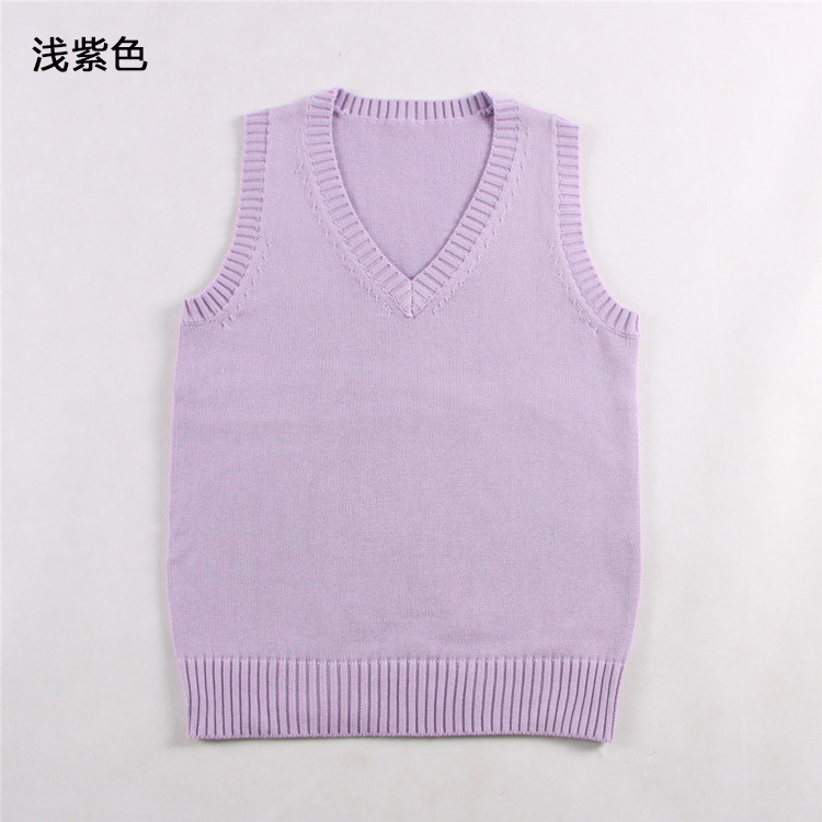 Japanese School Student JK Uniform Vest Girls Sleeveless V-Neck Sailor Knited Sweater Anime Love Live K-on Cosplay lilac