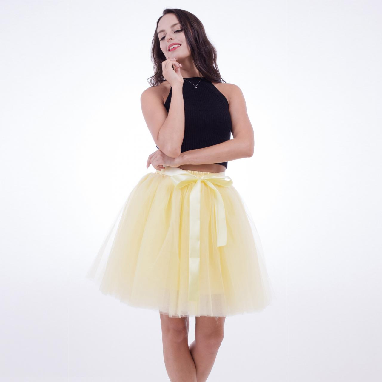 6 Layers Tulle Midi Lolita Skirt Women Adult Tutu Skirt American Apparel Wedding Bridesmaid Party Petticoat yellow