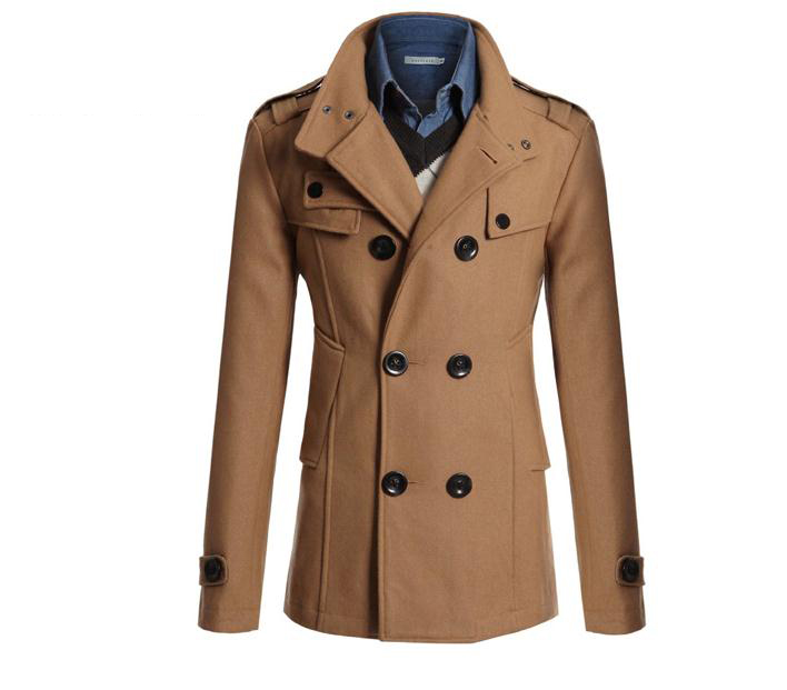Men Woolen Coat Warm Thick Double Breasted Stand Collar Windbreaker Casual Outwear Overcoat Business Parkas camel