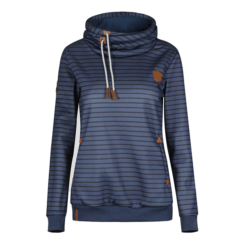 Winter Fleece Hoodies Women Long Sleeve Striped Hooded Sweatshirts Thick Pullover navy blue