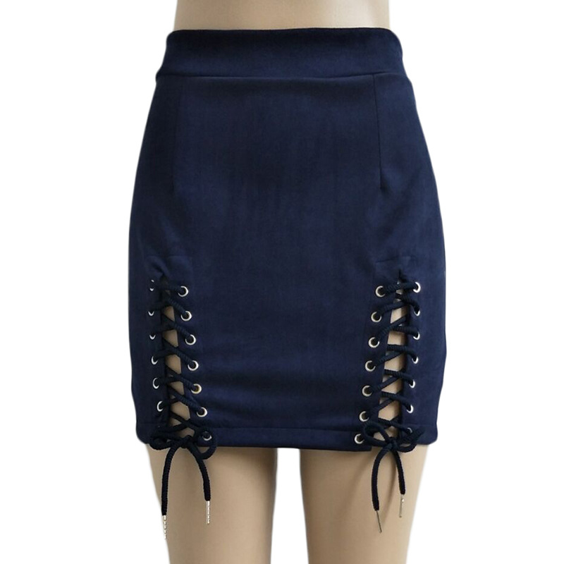 Women Faux Suede Mini Skirt Classic Sexy Bandage High Waist Lace Up Bodycon Short Pencil Skirt navy blue