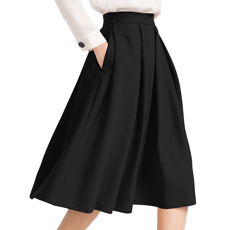 Black High Rise Pleated A-Line Knee Length Skirt Featuring Pockets