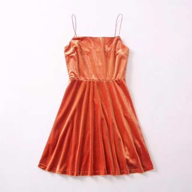 Orange Velvet Straight-Across Spaghetti Straps Short Skater Dress