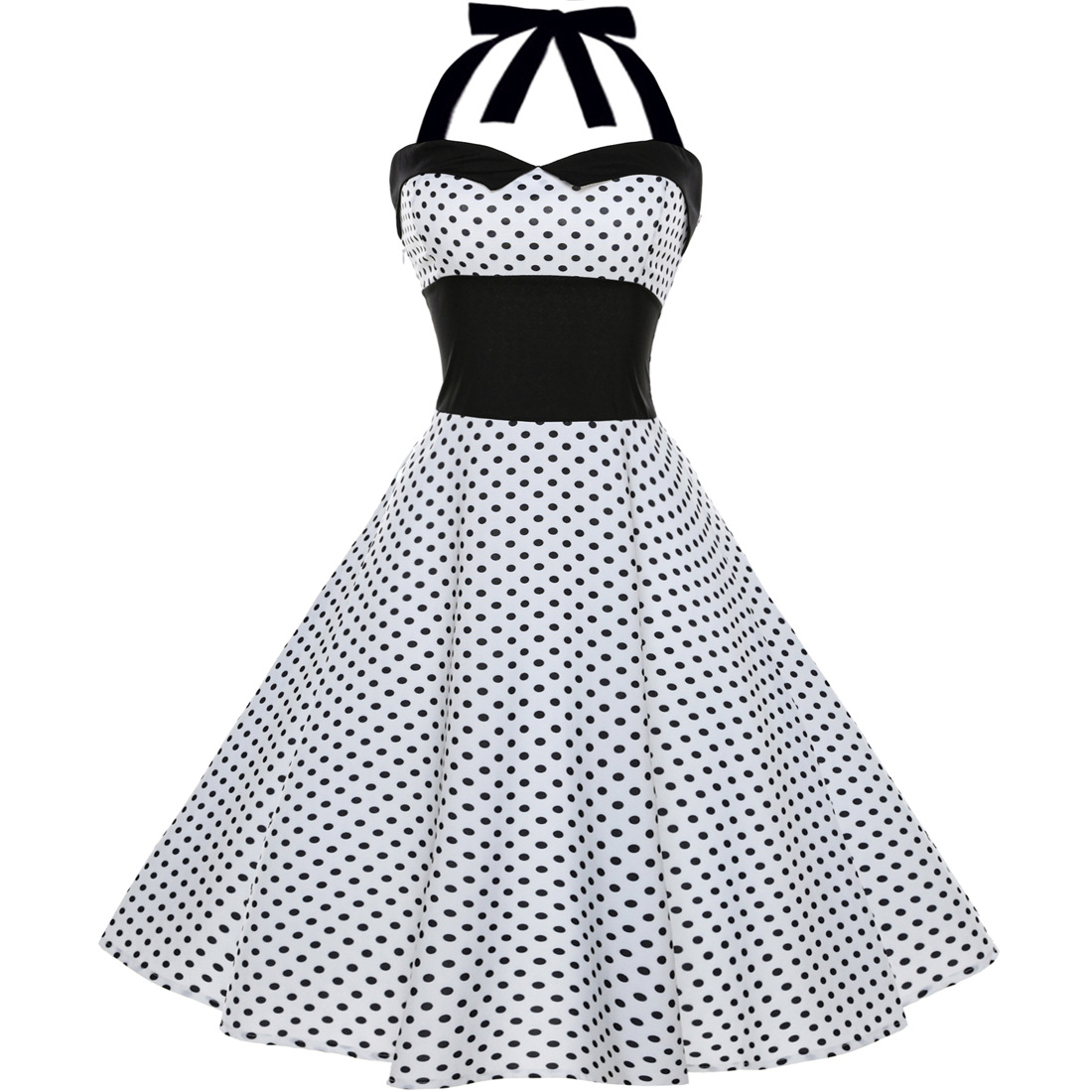 Vintage Polka Dot/Floral Dress Halter Backless Big Swing Women Casual Party Dress 1#