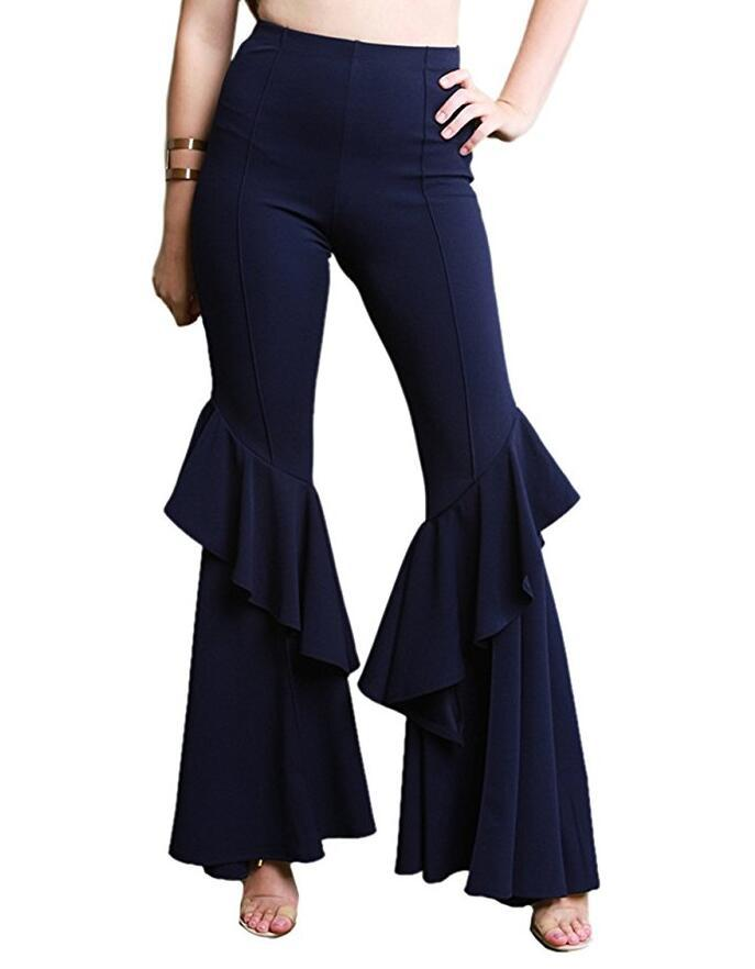 Fashion Women Flare Pants Stretch High Waist Solid Ruffles Wide Leg Long Trousers navy blue