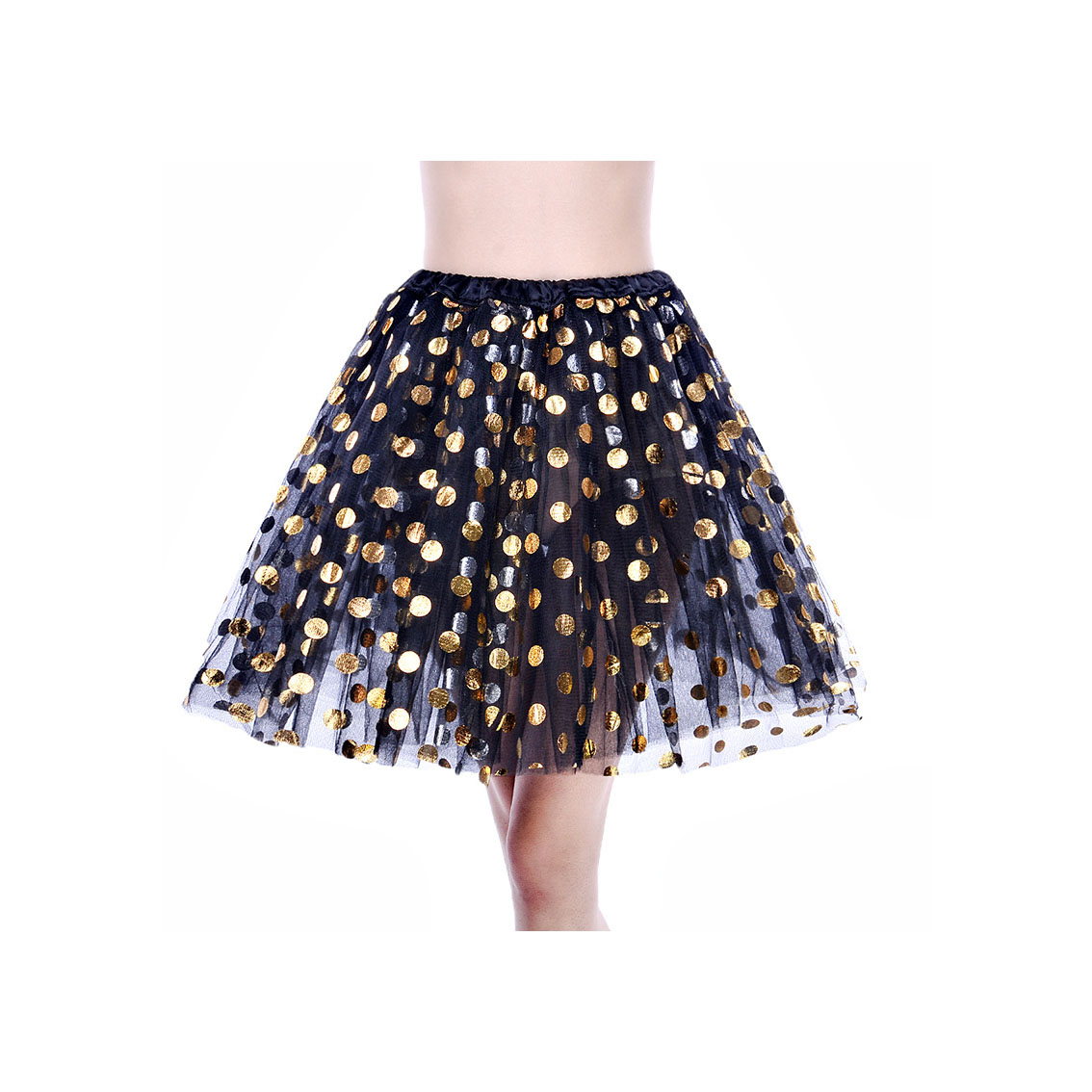Adult Tutu Skirt Sequin Gilding Polka Dot 3 Layers Party Dance Ballet Pettiskirt Tulle Girl Mini Skirt black+gold