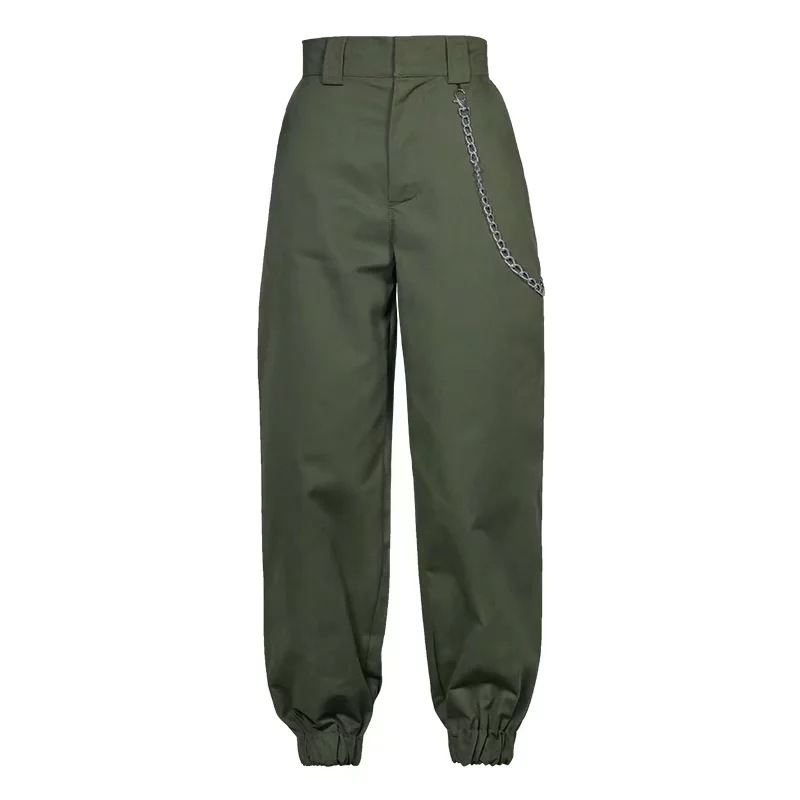 Women Harem Pants Streetwear High Waist Casual Dance Sweatpants Chain Zipper Cargo Trousers army green
