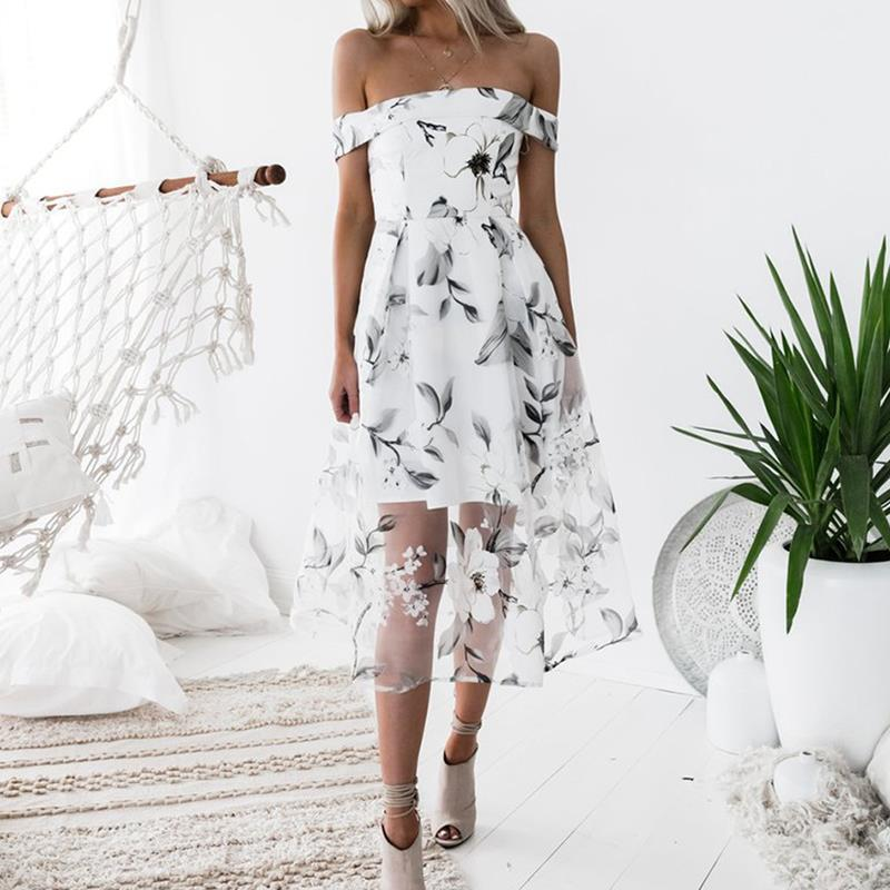Women Summer Beach Boho Dress Floral Printed Off the Shoulder Cocktail Party Gowns off white