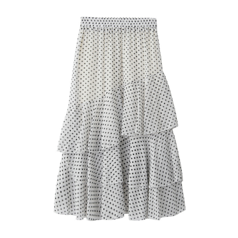 Women Asymmetrical Long Skirt Chiffon Summer High Waist Boho Floral Print Midi A Line Skirt white polka dot
