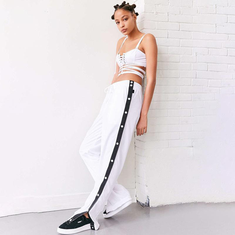 Women Wide Leg Button Track Pants Striped Patchwork Rivet Side Slit High Waist Summer Casual Long Trousers white+black