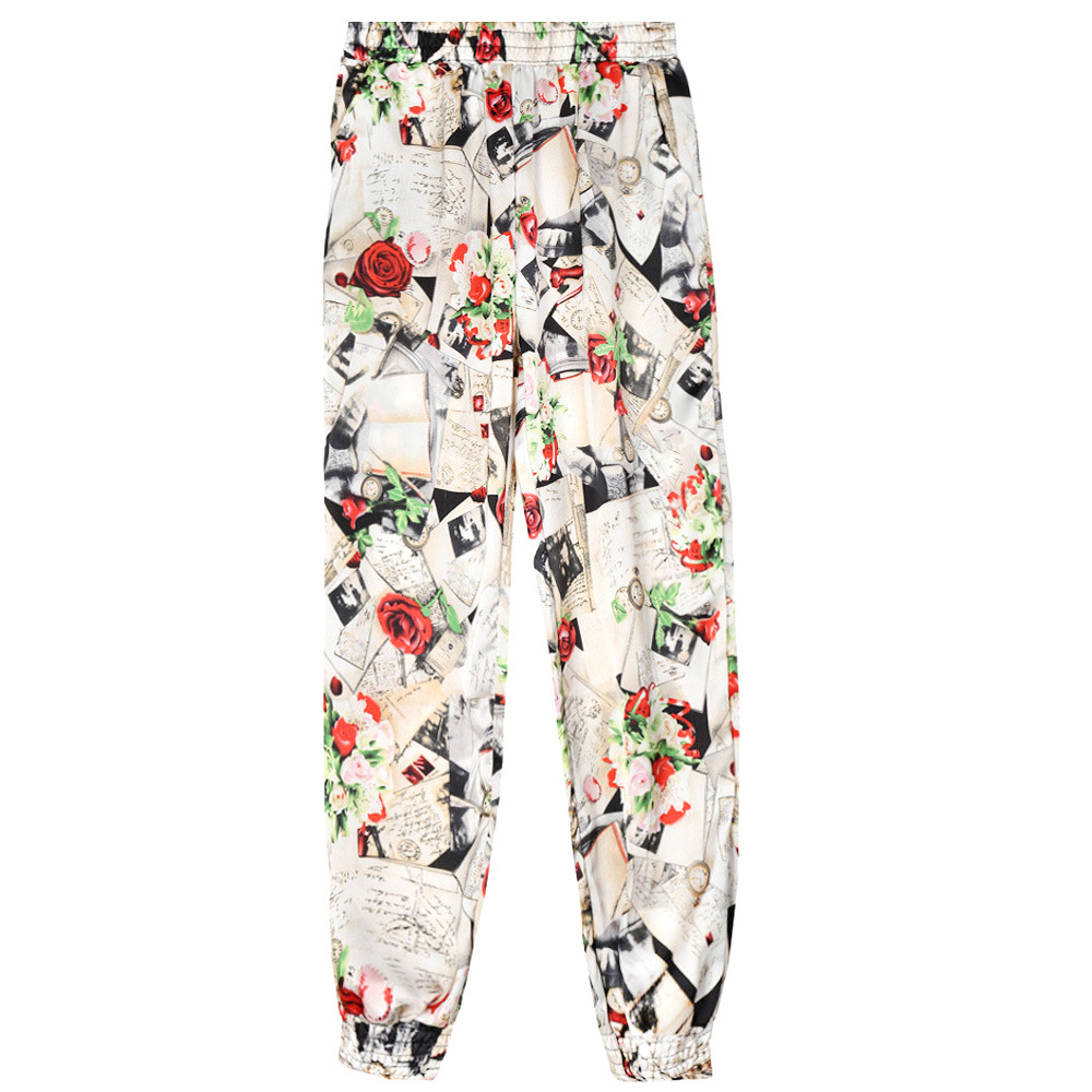 Women Harem Pants Summer Beach Elastic Waist Drawstring Loose Floral Printed Trousers4#