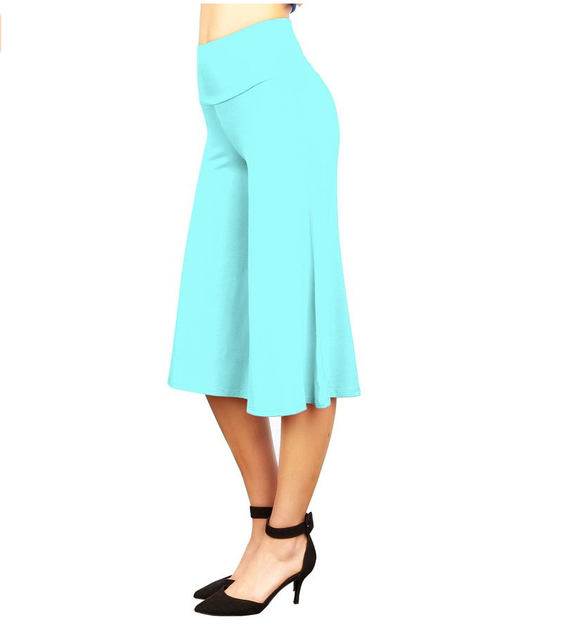 Women Wide Leg Pants High Waist Knee Length Summer Casual Loose Streetwear Trouses light blue