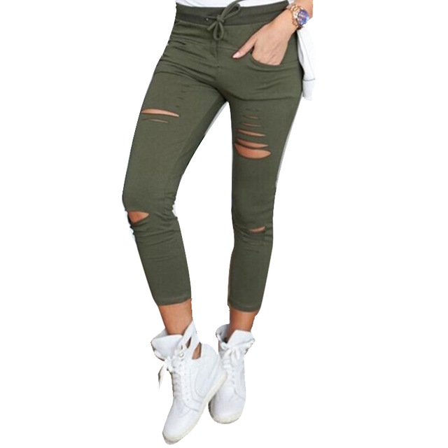 Women Pencil Pants Drawstring High Waist Ripped Holes Casual Skinny Leggings Trousers army green