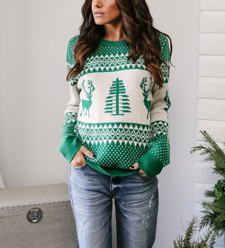 Women Knitted Sweater Christmas Deer Printed Autumn Winter Long Sleeve Casual Loose Pullover Tops green