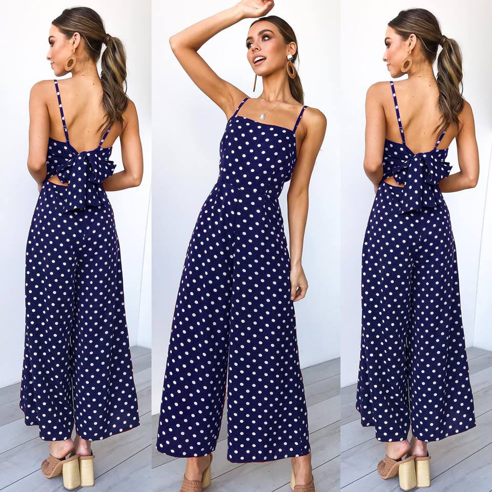 Women Polka Dot Jumpsuit Spaghetti Strap Sleeveless Backless Casual Wide Leg Pants Rompers Overalls navy blue