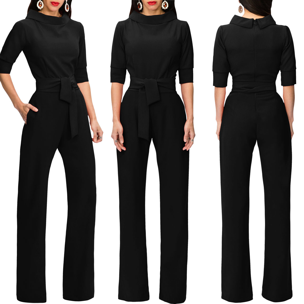 Women Jumpsuit Half Sleeve Stand Collar Belted Casual Wide Leg Pants Office Rompers Overalls black