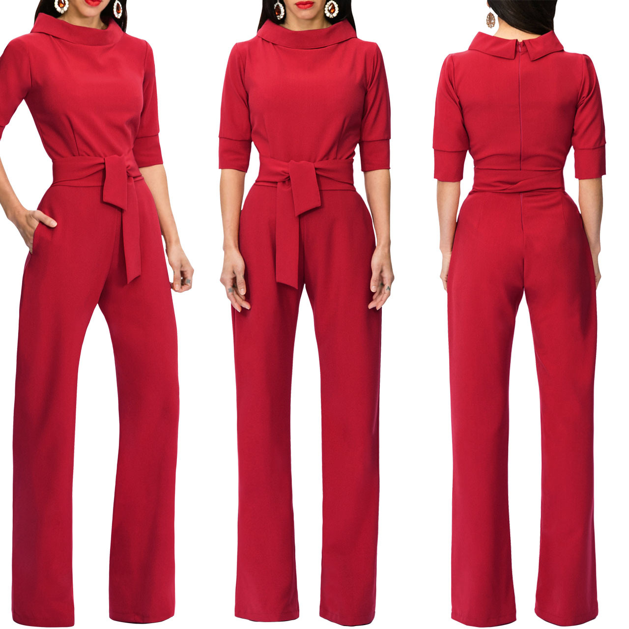 Women Jumpsuit Half Sleeve Stand Collar Belted Casual Wide Leg Pants Office Rompers Overalls red