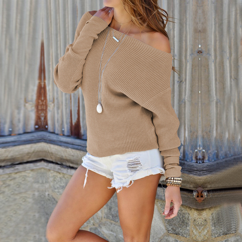 Women Sweater Spring Autumn Off the Shoulder Long Sleeve Casual Slim Pullover Tops khaki