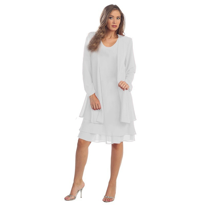 Women Chiffon Midi Dress Plus size Long Sleeve Casual Loose Two Pieces Dress off white