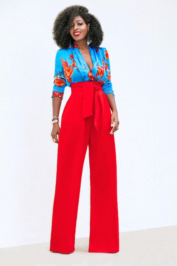 Women Wide Leg Pants High Waist Belted Casual OL Work Office Long Palazzo Trousers red