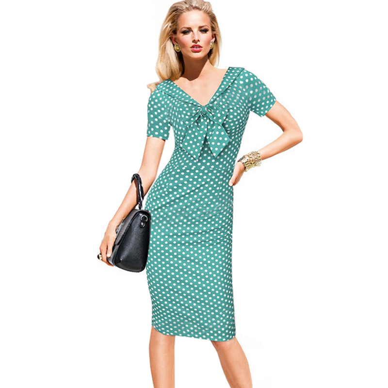 Vintage Polka Dots Short Sleeve Slim Office Casual Women Summer Bow Sheath Bodycon Pencil Dress green color